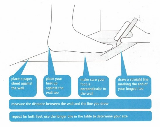 Foot measurment diagram and instructions